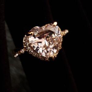 Clear Heart Shaped Fake Diamond Ring